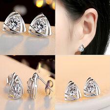 Original Triangular 925 Silver Earrings Silver Earrings Love Heart Studs Earring