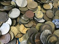 Huge 2 pound vintage token Exonumia lot (Bars, Arcade, medals, trade, & transit)