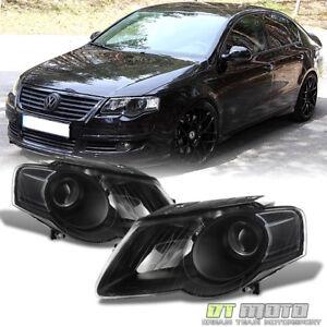 Black 2006-2010 Volkswagen Passat Headlights Lights Replacement Left+Right 06-10