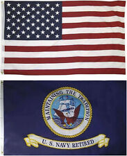 Wholesale Combo Lot 3' X 5' Usa American & Us Navy Retired Flag Banner 3X5
