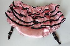 "Pink Ruffled Retro Pin Up Garter Panties Frilly Burlesque Knickers S 35/36""H"