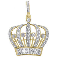 "10K Yellow Gold Mens Genuine Diamond King Crown Pendant 1.60"" Royalty Charm 1 CT"