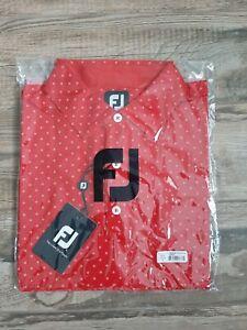 NEW FootJoy Mens Lisle Diamond Print Golf Polo XL Red 25726
