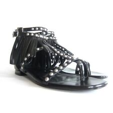 5f8c692b0efd P-286100 New Saint Laurent Leather Fringe Black Sandals Shoes US 8 Marked 38