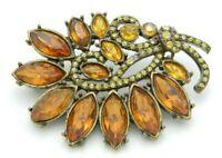 Topaz Plastic Rhinestone Vintage Styled Flower Pin Brooch Gold Tone