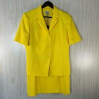 NWOT Emily 2 piece Skirt Suit Women's Size 12 Yellow Short Sleeve