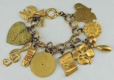 VINTAGE RETRO STATEMENT CHARM BRACELET GOLD TONE,POODLE,SHAMROCK,CAR,HEART,DOG