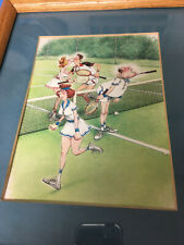 KIMPTON cartoon doubles tennis, card in wood frame,humorous tennis picture,MINT