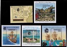 Columbus Ships Maps Discovery of New World BAHAMAS Set of 5 Mint NH Souv Sheets