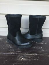 UGG AUSTRALIA YOUTH RIVERTON LEATHER SUEDE FUR BOOTS 3296 BLACK SIZE 2 EUC! $140