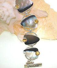 Marta Howell STER Silver Black-Lip Mother of Pearl Citrine Gemstone Bracelet #9