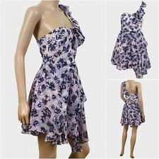 EX TOPSHOP One Shoulder Lilac/White/Blue Floral Dress. Size 6,8,10,12,14