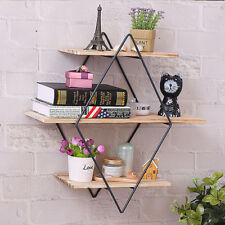 Rhombus Wood Iron Craft Wall Shelf Rack Book Storage Industrial Style Home Decor