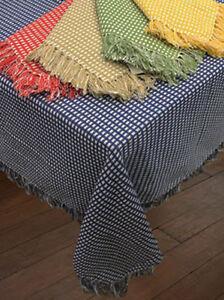 Homespun Woven Cotton Reversible Tablecloth - Lintex Homespun Fringed Tablecloth