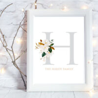 Personalised A4 Print Monogram Floral Family Initial Name Gift Wall Art-NO FRAME