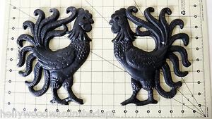 Cast Iron Wall Decor CHICKEN fighting cock fancy rooster door metal figure pair