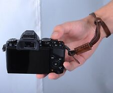 Brown Leather Camera Hand Wrist Strap for Canon Pentax Sony Mirrorless Camera