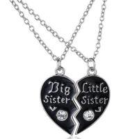 Collana doppio ciondolo pendente coppia Heart+catenina sorella sorelle cuore