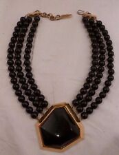 Vintage Yves Saint Laurent YSL RARE Black & Gold Choker Beaded Necklace