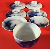 KORANSHA FUKAGAWA BLUE DISH CUP LID SET OF 7 VINTAGE JAPANESE LEAVES BERRIES