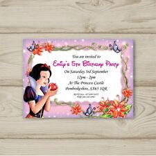 Disney Princess Snow White Birthday Party Invitations Personalised