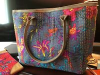 Cotton  Kantha Leather handbags shoulder bag overnight bag purse tote bag