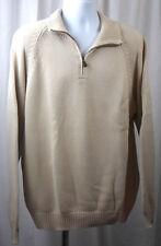 Lands End Mens Partial Zip Tan Long Sleeve Cotton Knit Sweater Size XL 46 48 NIP