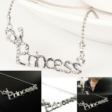 Pop Letters 'Princess' With Crown Clavicle Chain Pendant Necklace Jewelry KS