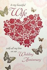 To My Beautiful Wife On Our Wedding Anniversary Card ~ Lovely Verse ~ Made In UK