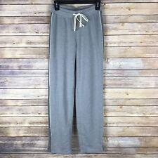 Alternative Womens Sweat Pants Terry Knit Straight Zip Ankle Drawstring Gray XS