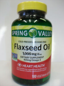 Spring Valley Flaxseed Oil  1,000 mg + 450 mg Omega-3  100 Softgels