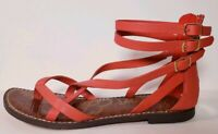 Sam Edelman Women's Red Leather Gladiator Strappy Flats Sandals! Size 7