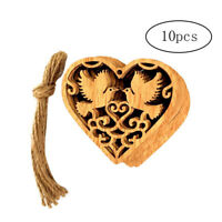 10pcs Wooden Heart Love Birds Pendant with Jute Rope Ornaments Hanging Decor