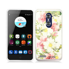 For ZTE ZMAX PRO Brushed Metal HYBRID Rubber Case Phone Cover Accessory