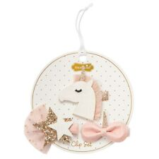 Mud Pie E1 Dream In Glitter Baby Girl Unicorn Hair Clips 3pc Set 10160033