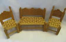 Vtg Doll House Furniture Jute Woven Chair Bench Wooden Hand Made Rattan Dollhous