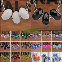 10pc Rondelle Faceted European Charms Murano Glass Big Hole Loose Spacer Beads