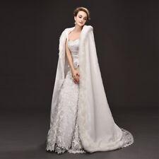 Women's Fleece Lining Hooded Maxi Cloak Cape Faux Fur Robe Poncho Wedding Bride