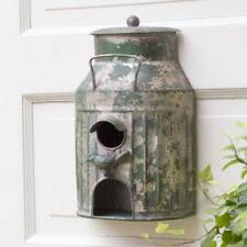 New Primitive Rustic Vintage Antique Style Green Milk Can Birdhouse Bird Feeder