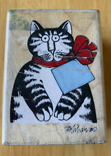 Rubber Stampede B. Kliban Cat For You! Gift Tag Card Bow Wood Stamp Artist Art