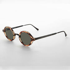 Art Deco Oval Sunglasses with Embossed Metal Temples Tortoise/ Gun/Green - Degas