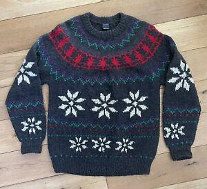 Men's Gant 100% Shetland Wool Jumper Sweater 90's Size Large Fair isle Christmas