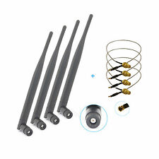 4 6dBi RP-SMA Dual Band WiFi Antenna + U.fl Cable Mod Kit For Asus D-Link Router