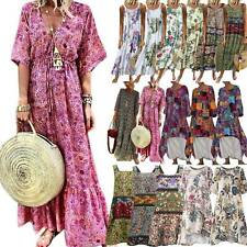 Boho Floral Women Summer Beach Midi Dress Holiday Kaftan Maxi Dresses Plus Size