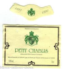 étiquette de vin PETIT CHABLIS 1997 wine label