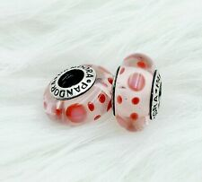 2 Pandora Murano Silver 925 Red Dots Clear Charm Beads #027