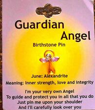 BIRTHSTONE PIN BROOCH GUARDIAN ANGEL BIRTHSTONE JUNE ALEXANDRITE GIFT