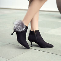 Womens Ladies Ankle Boots Pointed Toe Casual Shoes Kitten Heel Suede Booties
