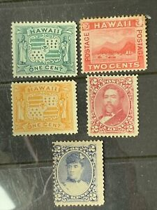 O6/24 US Hawaii Stamp 1800s Scott 1c 2c 5 Unused NH/H Nice Coll