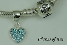 Genuine Sterling Silver 925 Teal Heart Dangle charm. Beautiful Christmas Gift